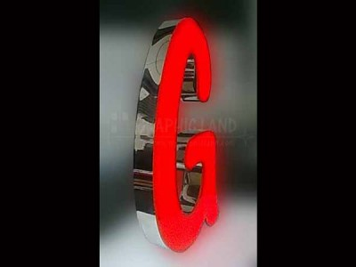 Enseigne lettres lumineuses inox et acrylique